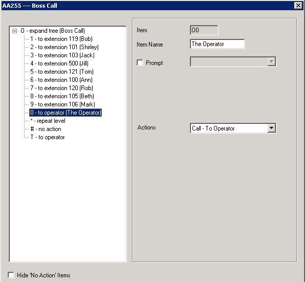 Altigen Auto Attendant Configuration Screen