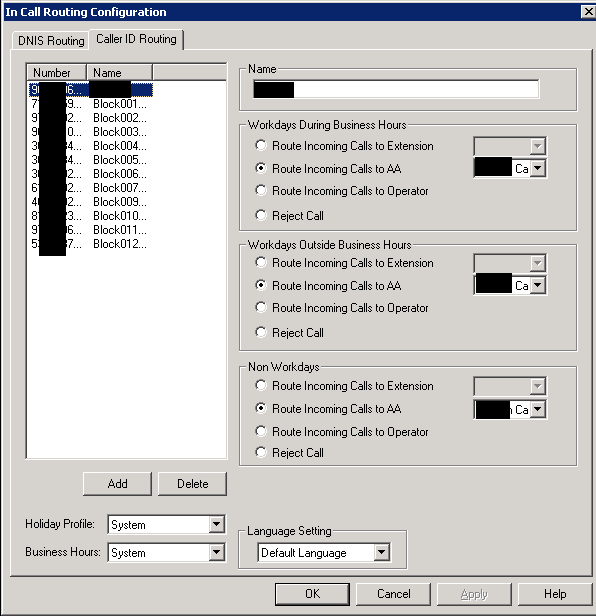 In Call Routing Configuration Dialog
