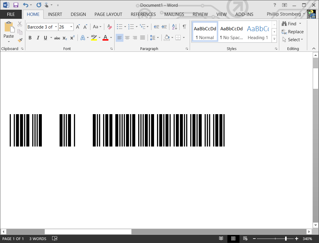 3 of 9 Barcode Font for Microsoft Word